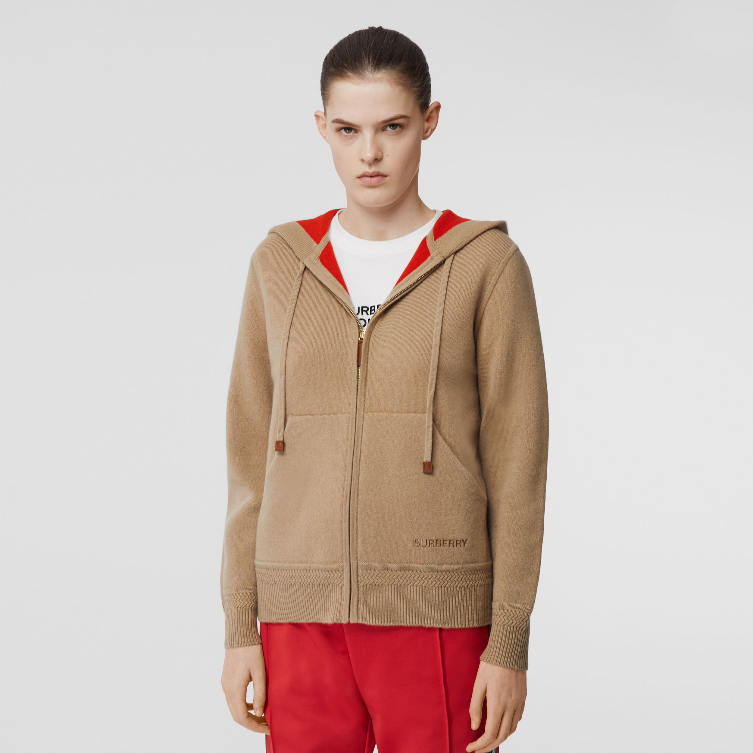 Embroidered Logo Cashmere Hooded Top in Archive Beige - Women | Burberry Australia - 1