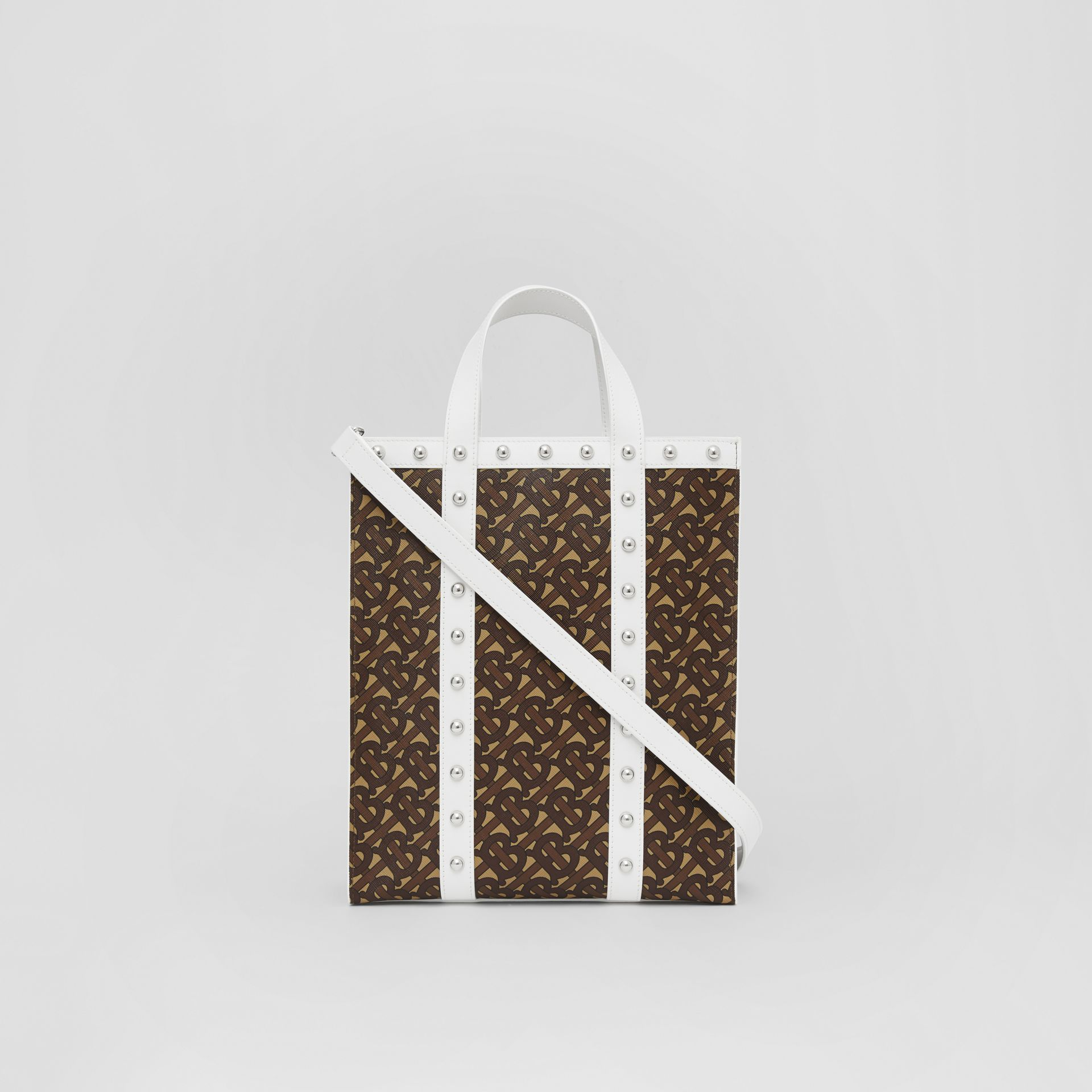 Small Monogram Print E-canvas Portrait Tote Bag in White - Women | Burberry Hong Kong S.A.R - gallery image 5
