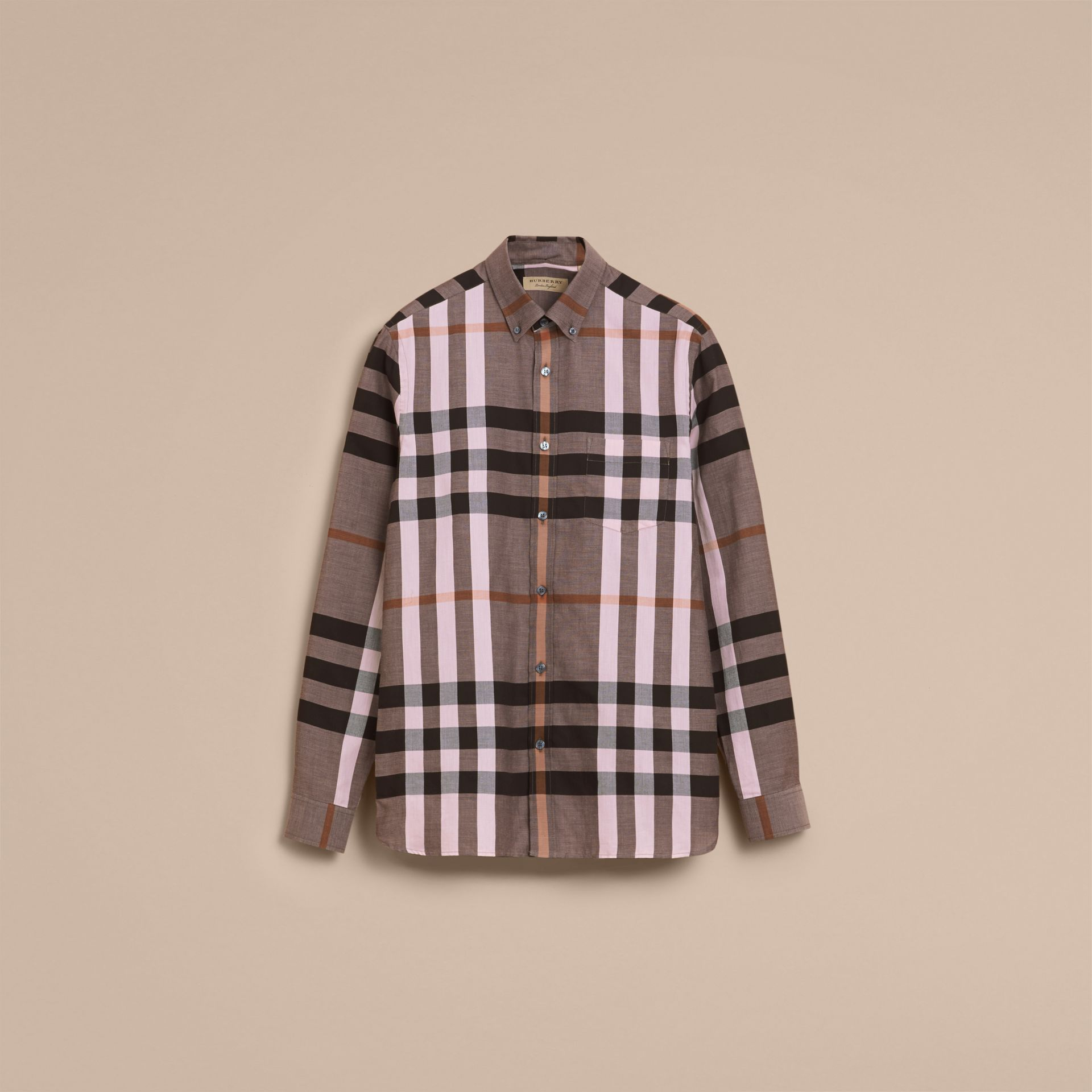 Button-down Collar Check Cotton Poplin Shirt in Antique Rose - Men | Burberry - gallery image 4