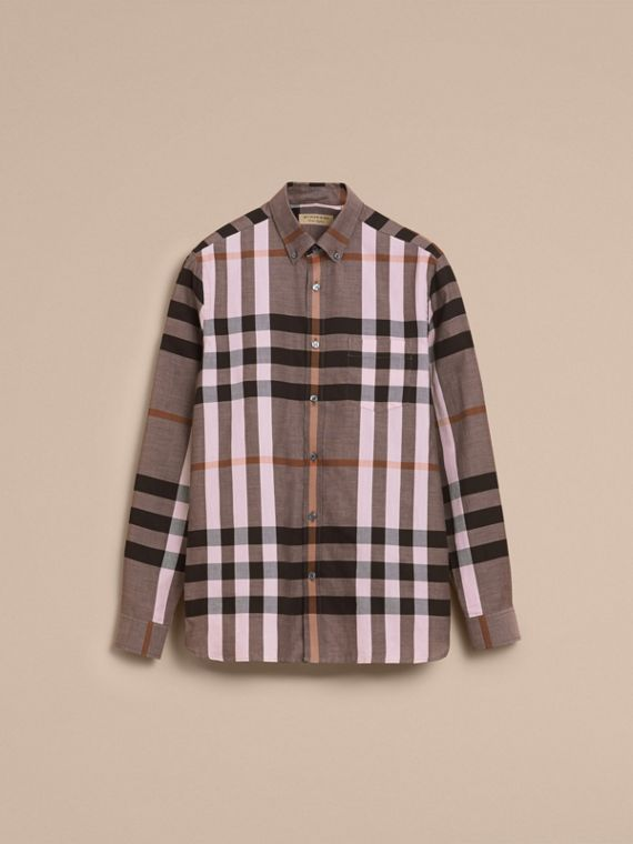 Button-down Collar Check Cotton Poplin Shirt in Antique Rose - Men | Burberry - cell image 3