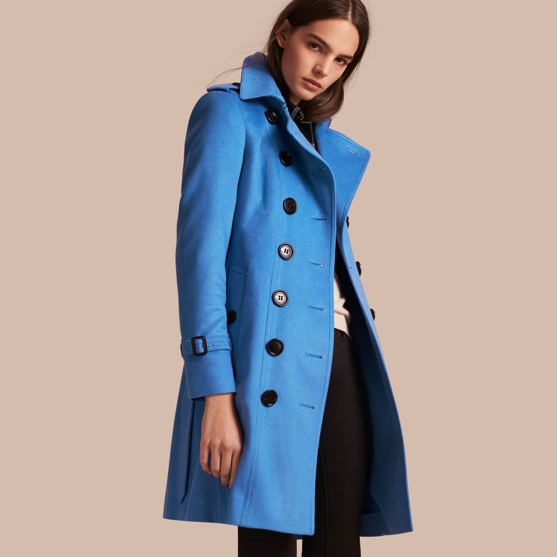 Cornflower Sandringham Fit Cashmere Trench Coat Cornflower - gallery image 1