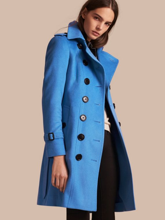 Sandringham Fit Cashmere Trench Coat in Cornflower