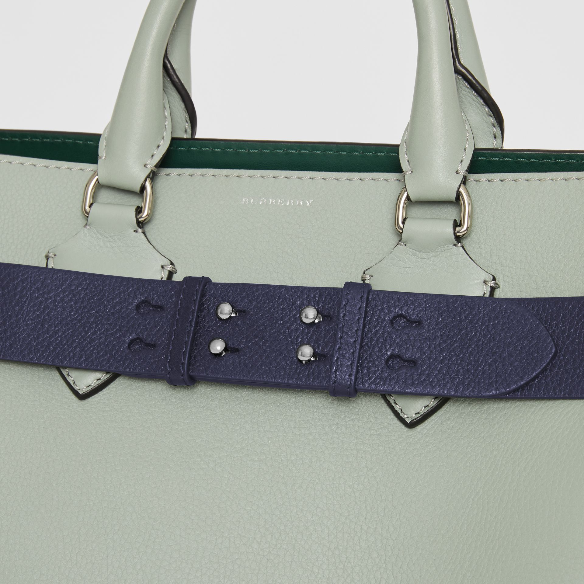The Small Belt Bag Grainy Leather Belt in Regency Blue - Women | Burberry - gallery image 1