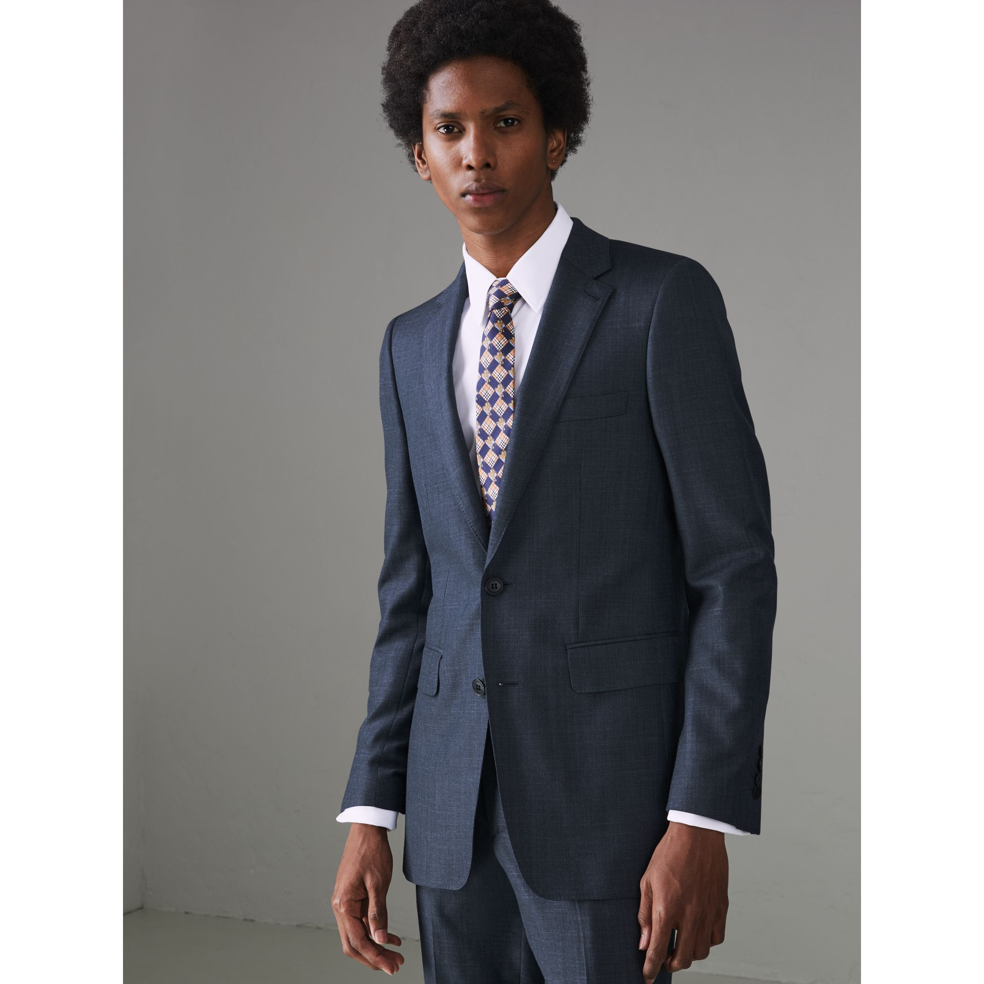 Slim Fit Wool Silk Linen Suit in Bright Navy - Men | Burberry Canada - gallery image 7