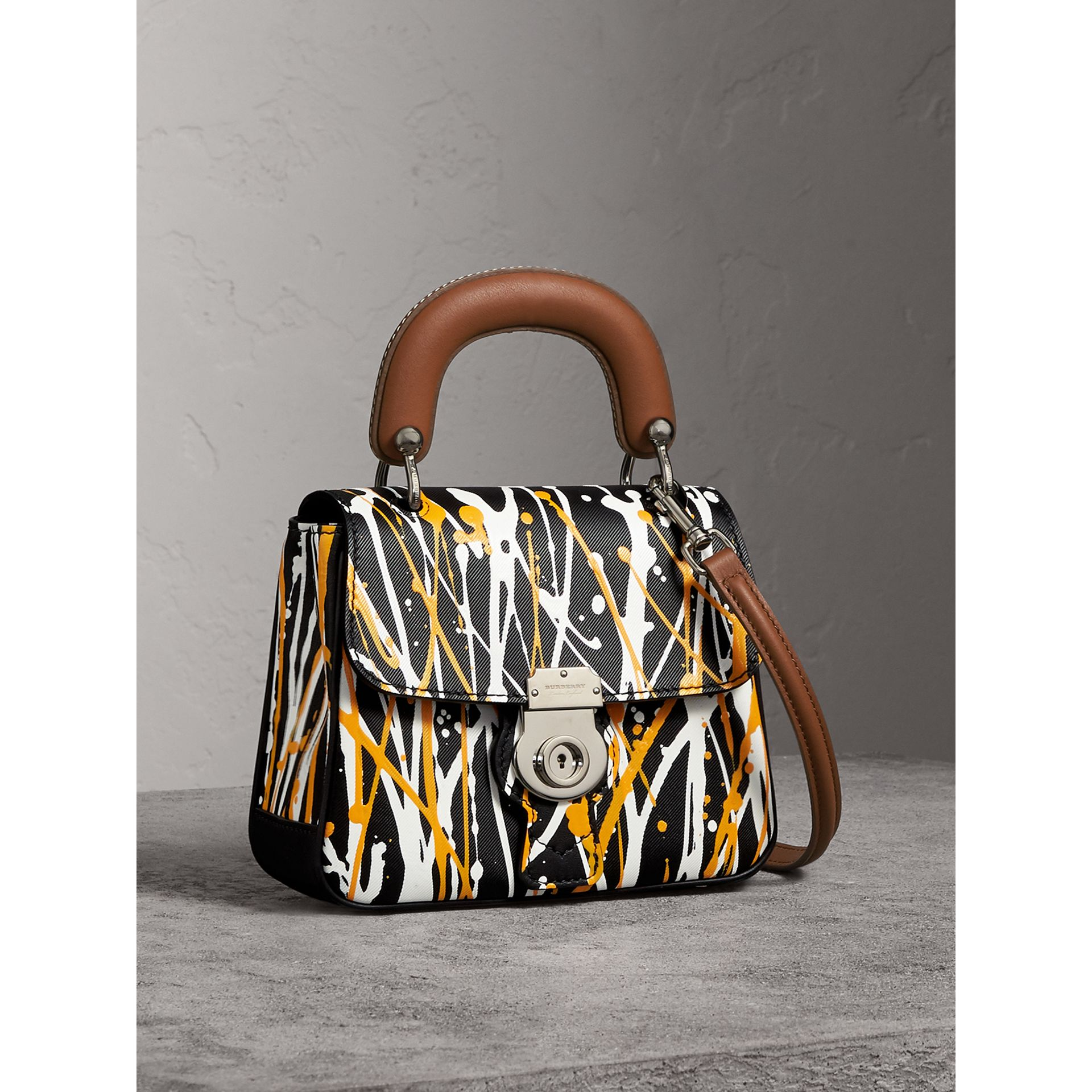 The Small DK88 Splash Top Handle Bag in Black - Women | Burberry - gallery image 7