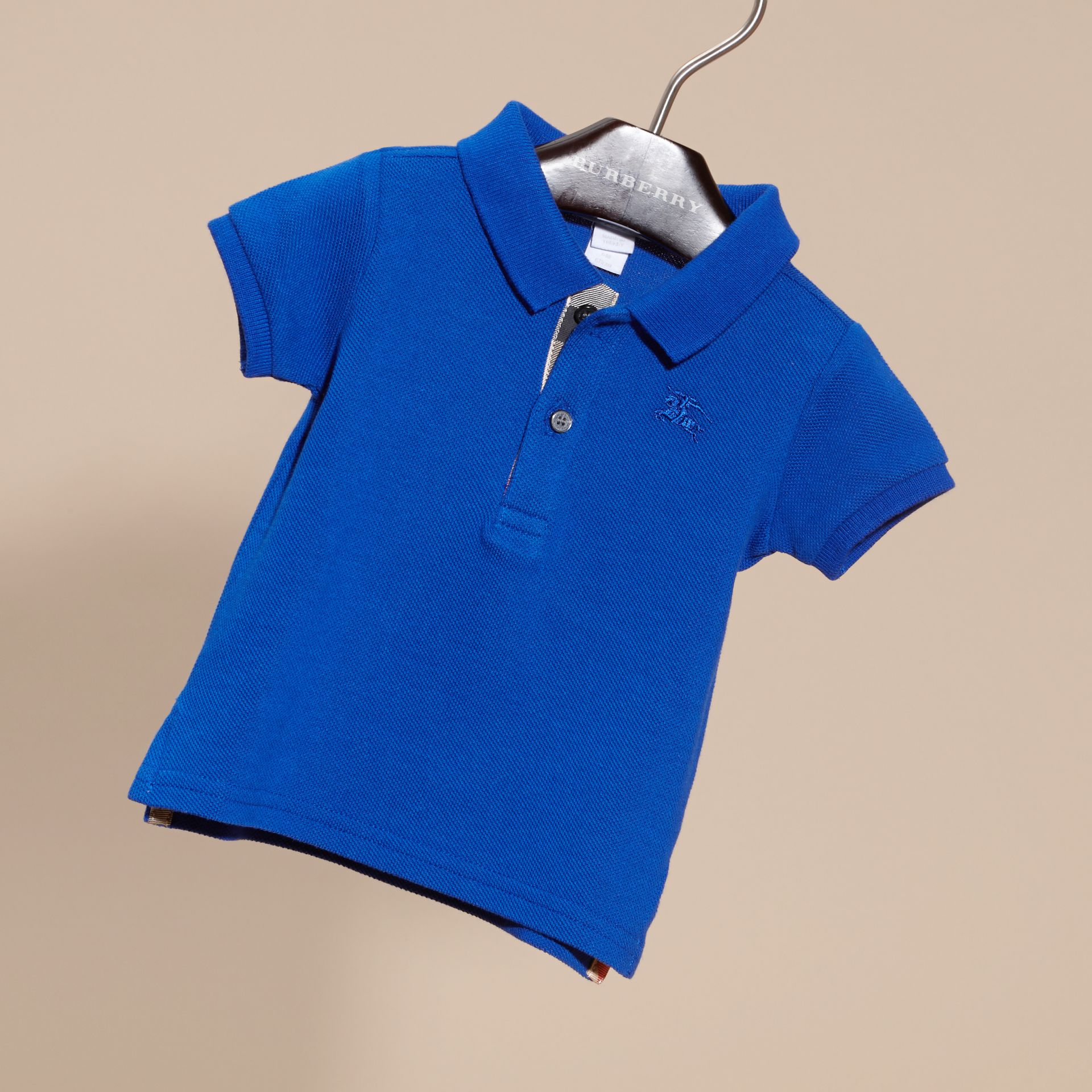Cotton Piqué Polo Shirt in Brilliant Blue - gallery image 3