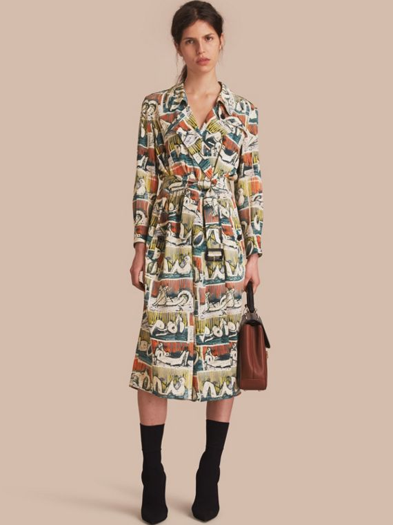 Silk Wrap Trench Dress with Reclining Figures Print