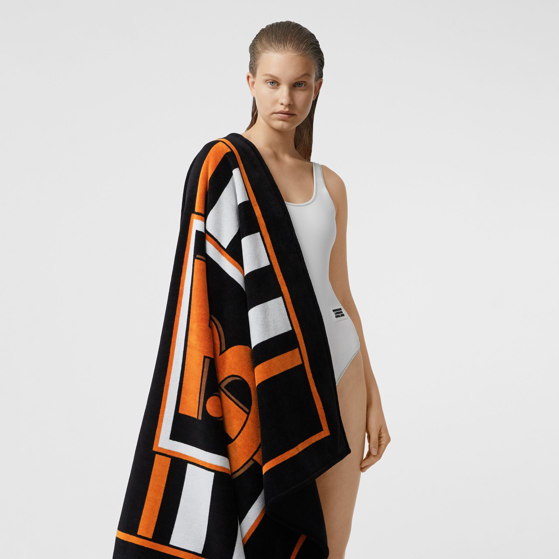 Monogram and Icon Stripe Print Cotton Towel in Black | Burberry United States - gallery image 2