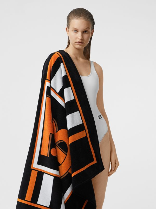 Monogram and Icon Stripe Print Cotton Towel in Black | Burberry United States - cell image 2