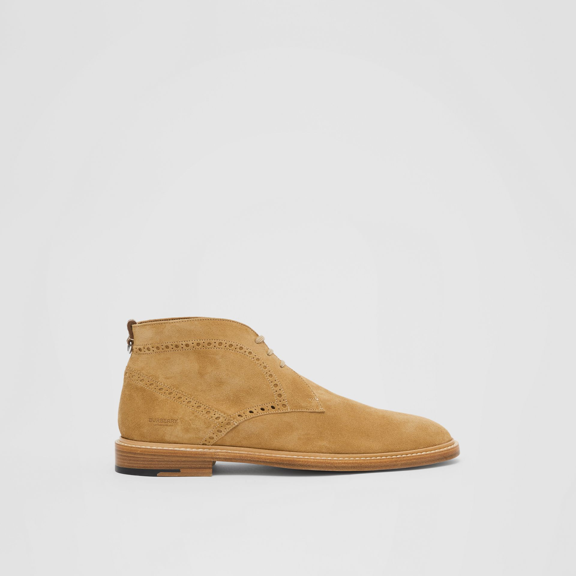 Brogue Detail Suede Boots in Sandy Beige - Men | Burberry - gallery image 4