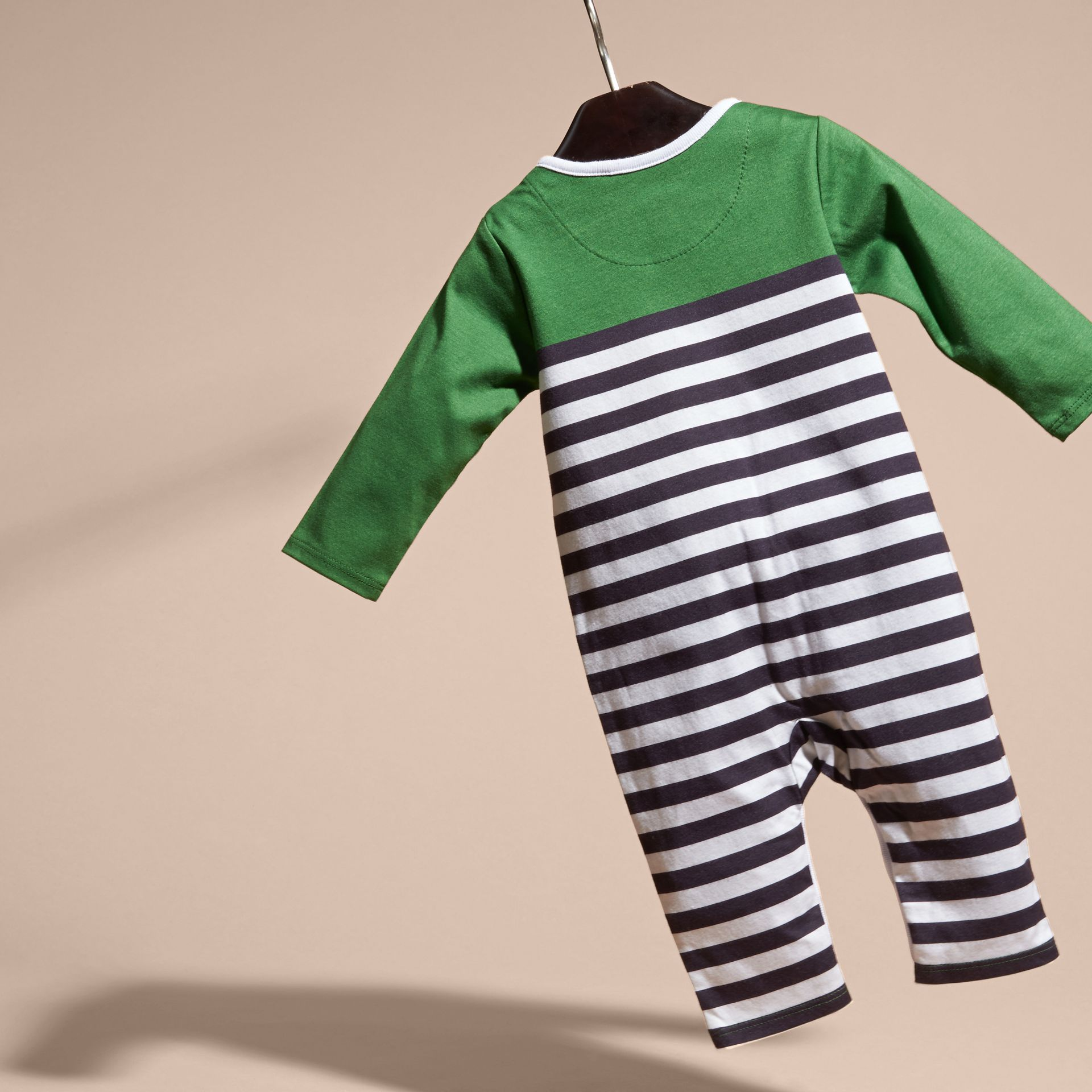 Bright fern green Colour Block Striped Cotton Jumpsuit - gallery image 4