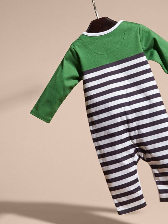 Bright fern green Colour Block Striped Cotton Jumpsuit - cell image 3