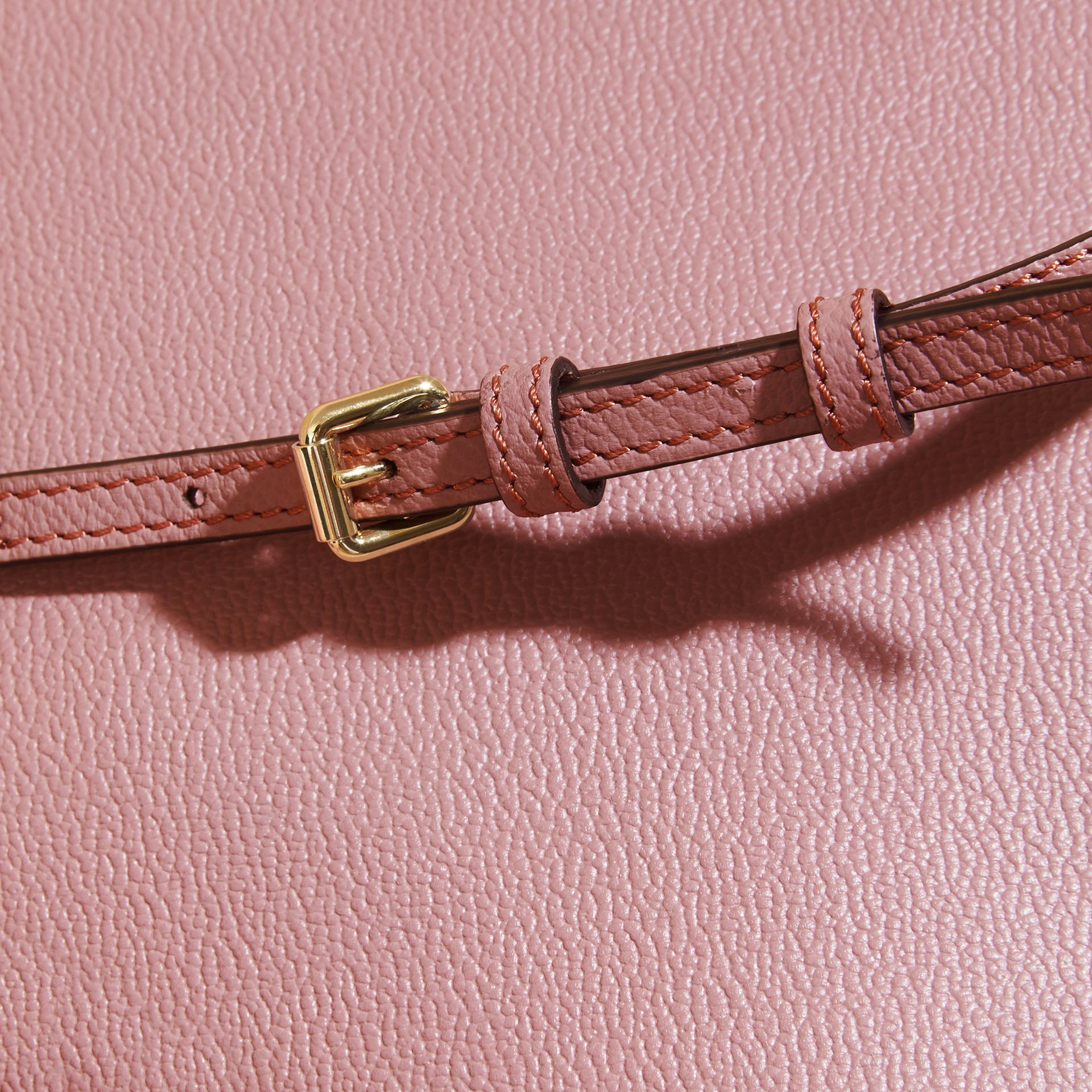 Leather Clutch Bag with Check Lining Dusty Pink - gallery image 2