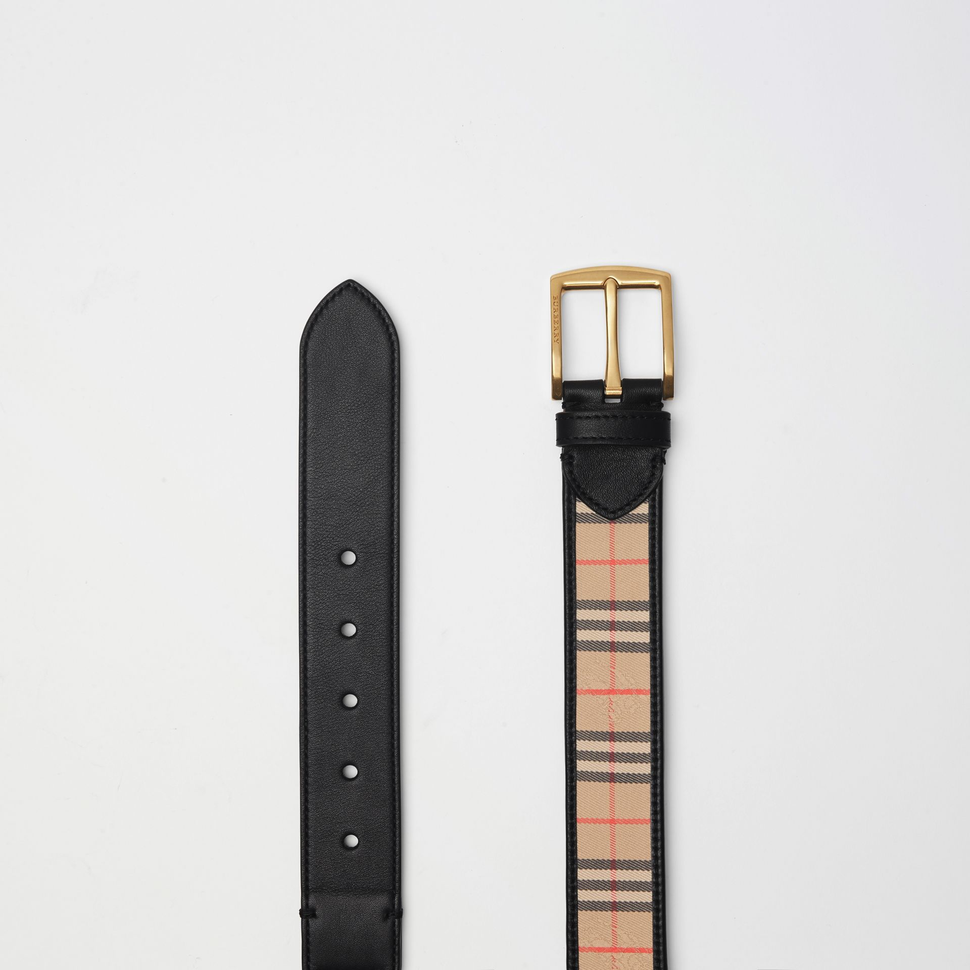 1983 Check and Leather Belt in Black | Burberry Singapore - gallery image 5