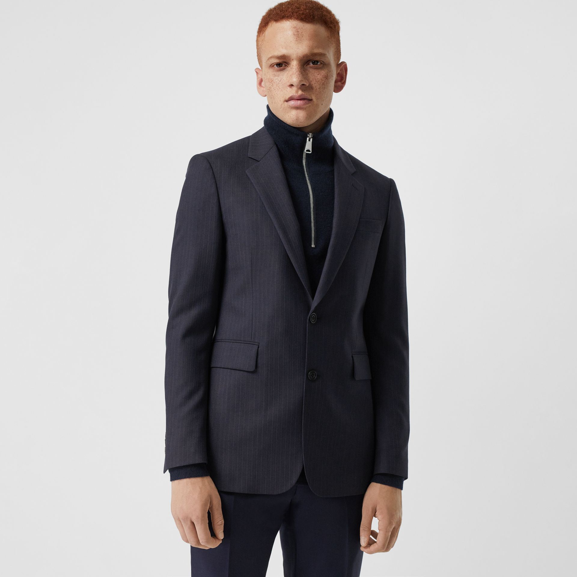 Classic Fit Pinstripe Wool Tailored Jacket in Navy Stripe - Men | Burberry United Kingdom - gallery image 4