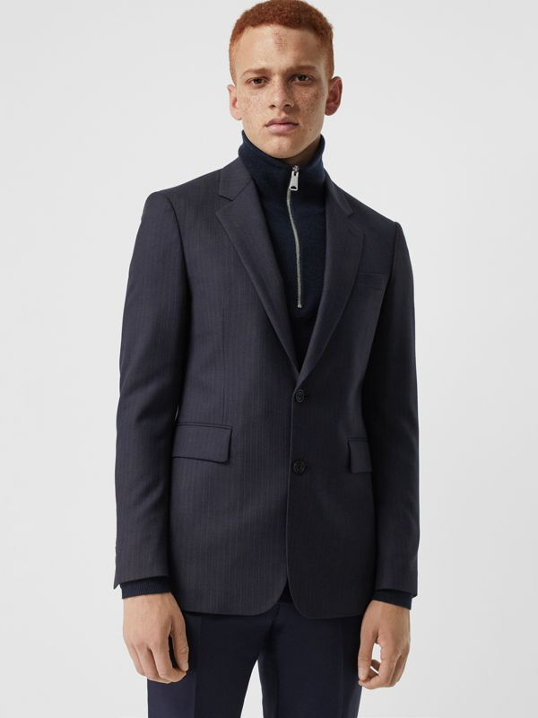 Classic Fit Pinstripe Wool Tailored Jacket in Navy Stripe - Men | Burberry - cell image 3