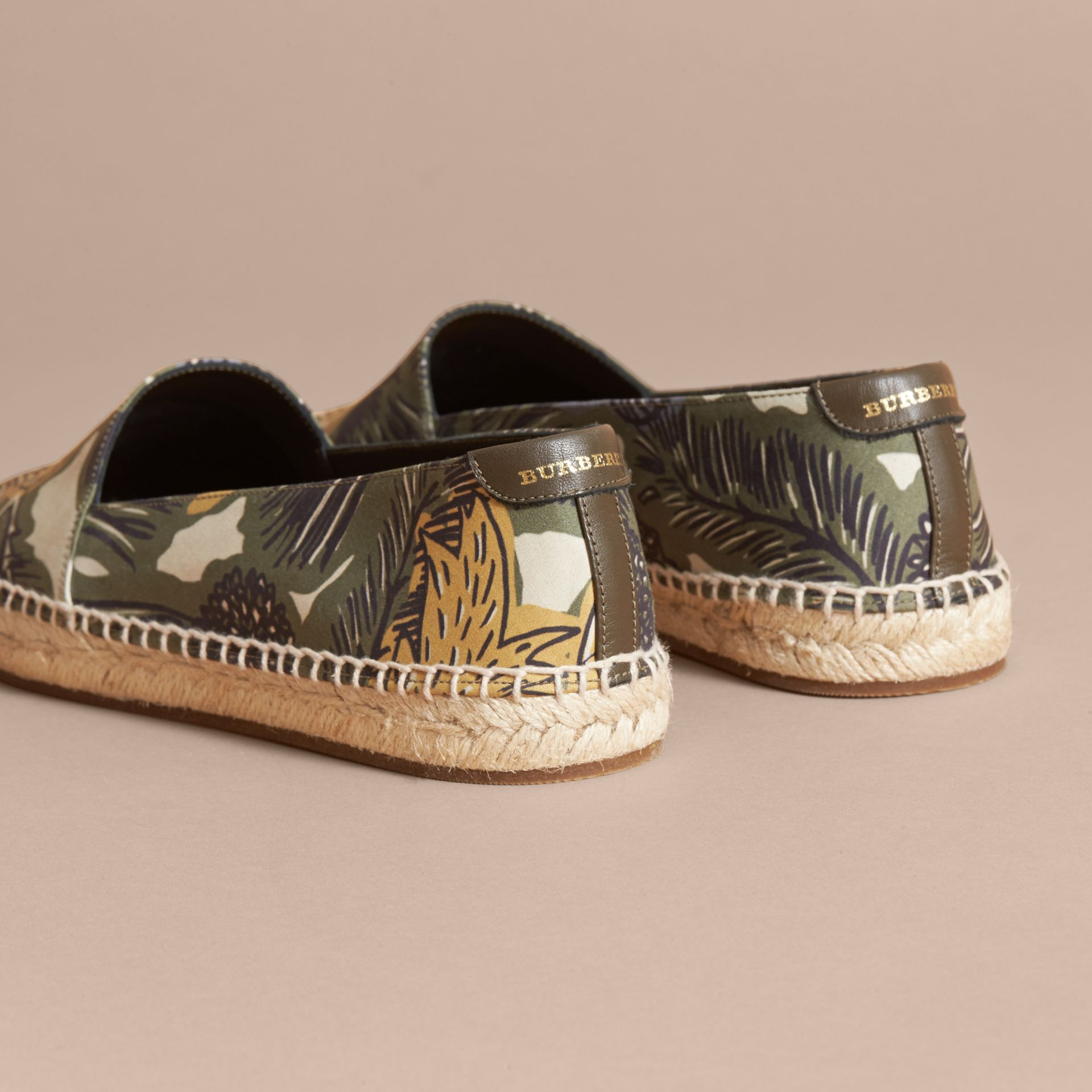 Beasts Print Cotton Blend Espadrilles in Clay Green - Women | Burberry United Kingdom - gallery image 4
