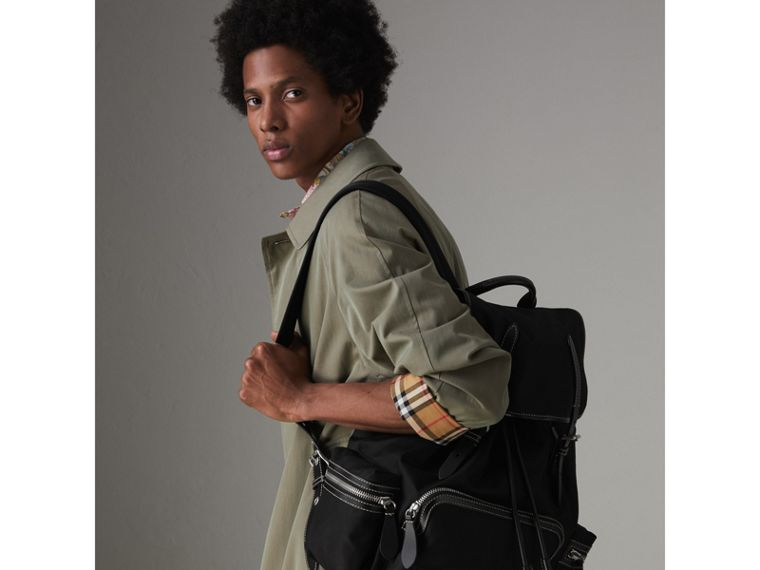 The Large Rucksack in Cotton Canvas in Black - Men | Burberry United Kingdom - cell image 4
