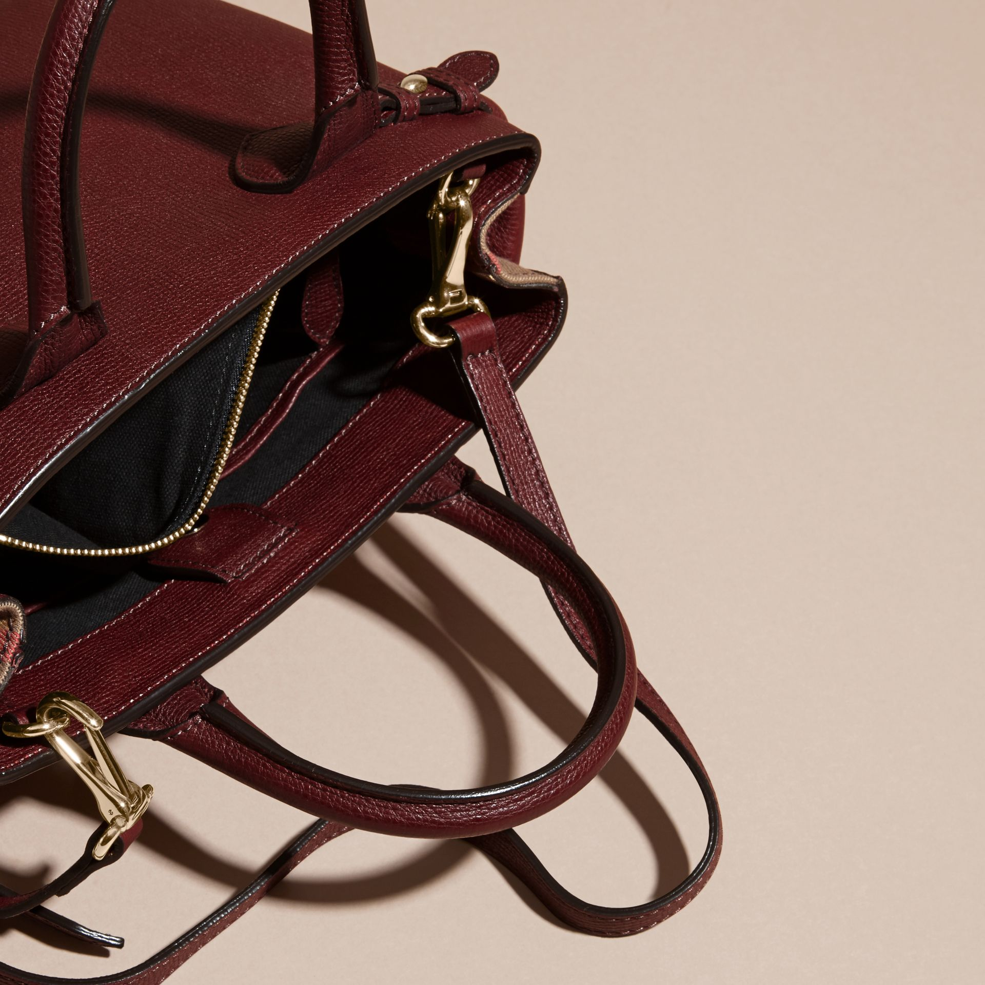 The Small Banner in Leather and House Check in Mahogany Red - Women | Burberry Singapore - gallery image 6