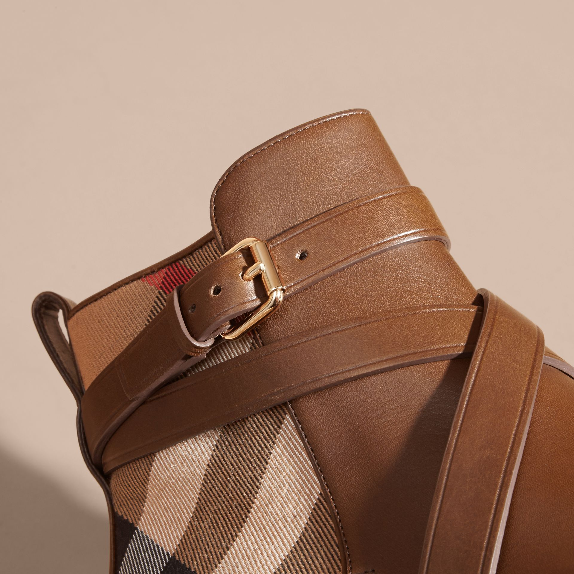 Strap Detail House Check and Leather Ankle Boots Bright Camel - gallery image 5