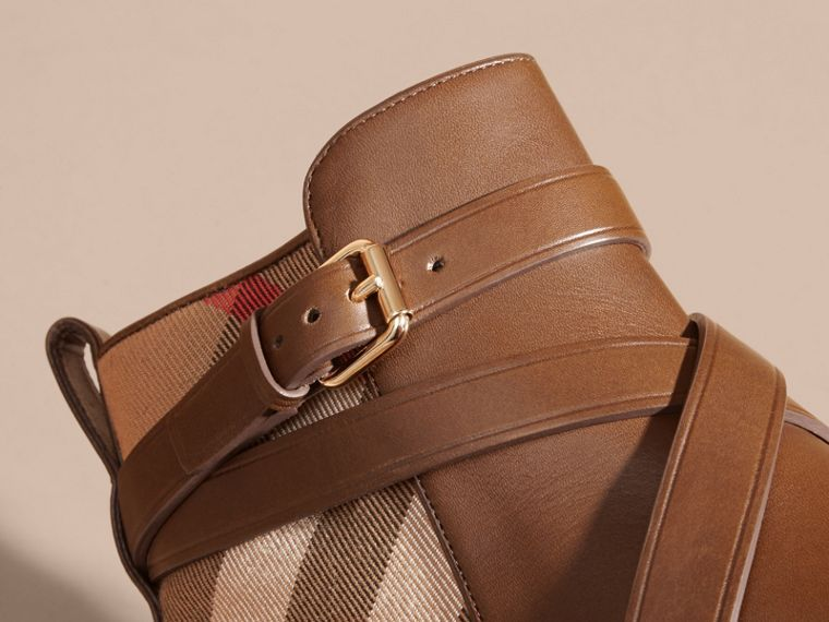 Strap Detail House Check and Leather Ankle Boots Bright Camel - cell image 4
