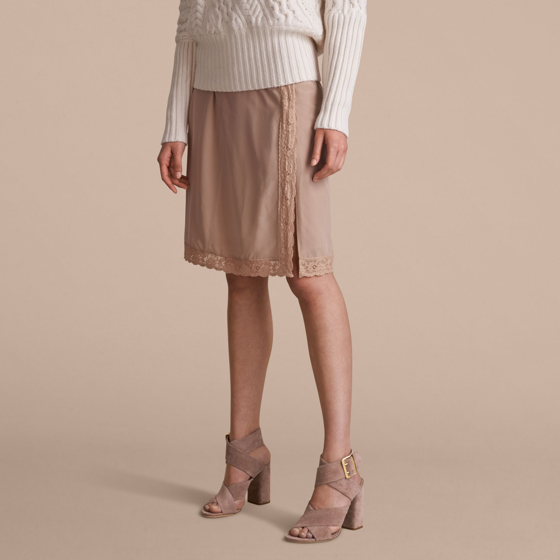 Lace Trim Silk Skirt - gallery image 6