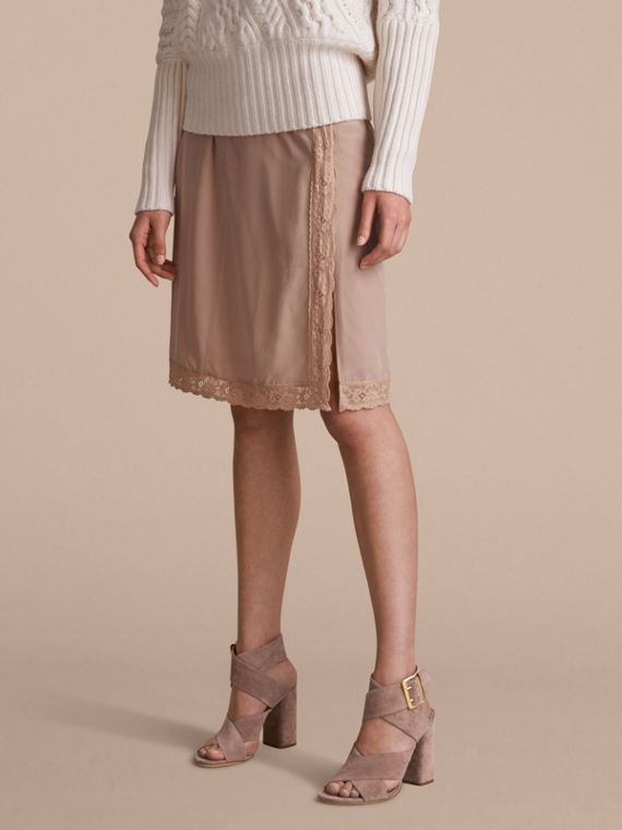 Lace Trim Silk Skirt
