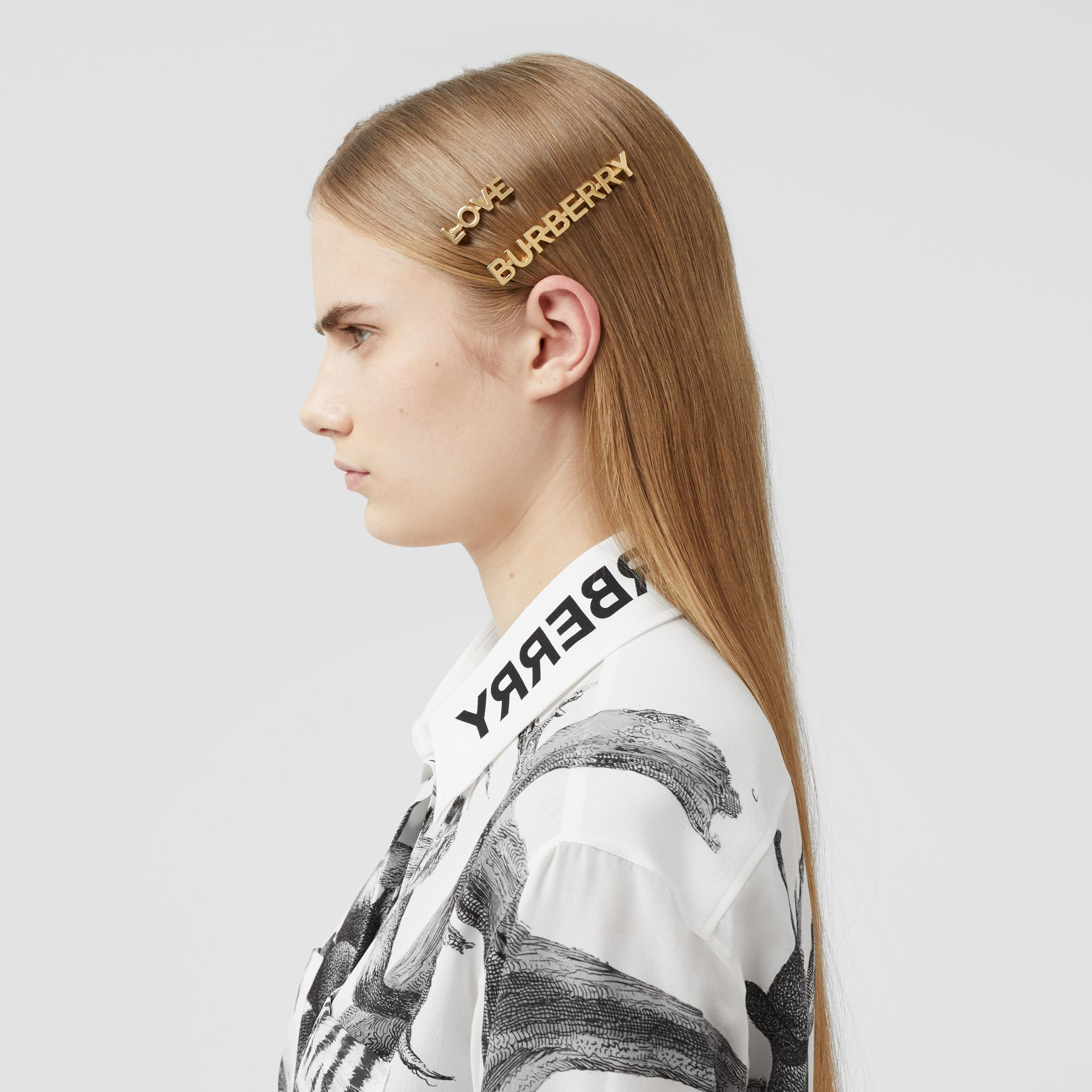 Gold-plated Logo and Love Hair Clips in Light - Women | Burberry United Kingdom - gallery image 2