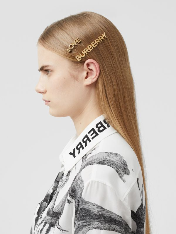 Gold-plated Logo and Love Hair Clips in Light - Women | Burberry United Kingdom - cell image 2