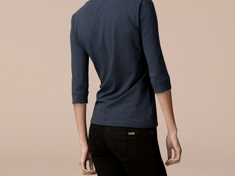 Check Cuff Stretch-Cotton Top in Navy - cell image 2
