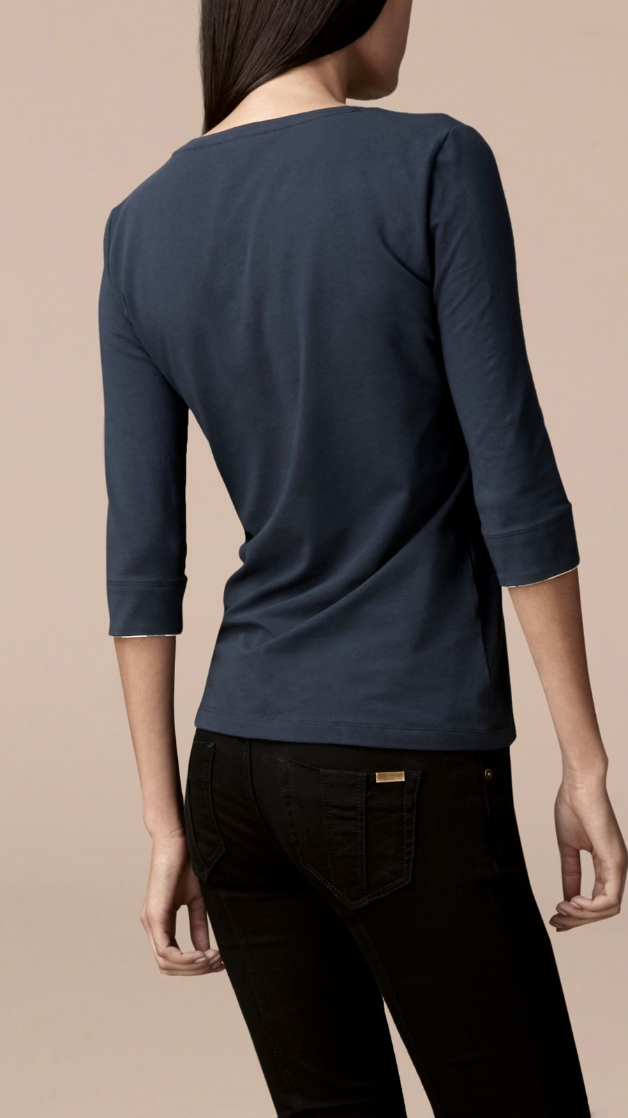 Navy Check Cuff Stretch-Cotton Top Navy - Image 4