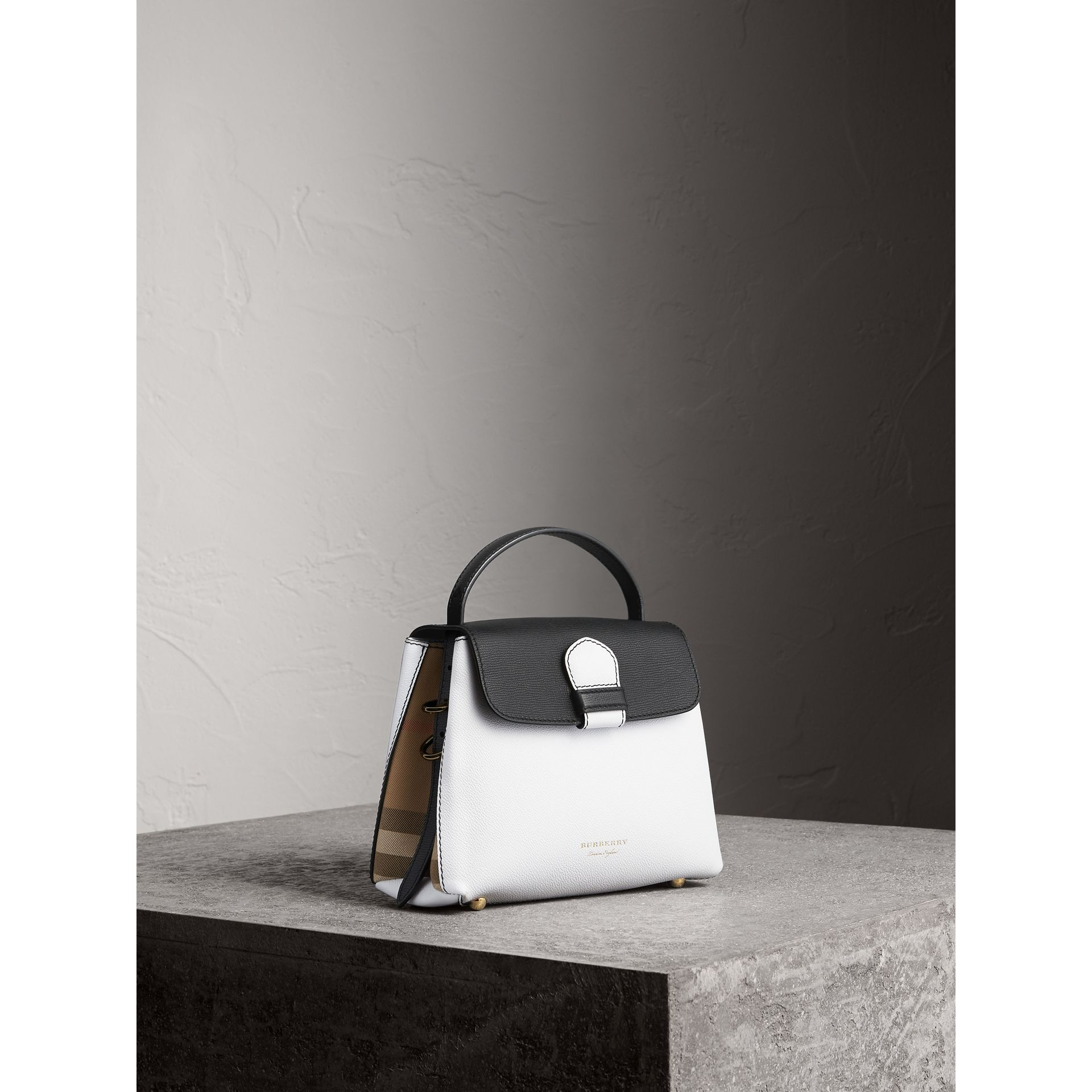 Small Two-tone Leather and House Check Tote in Chalk White/black - Women | Burberry Australia - gallery image 0