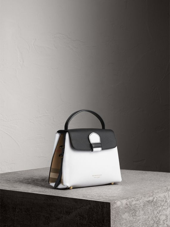 Small Two-tone Leather and House Check Tote in Chalk White/black
