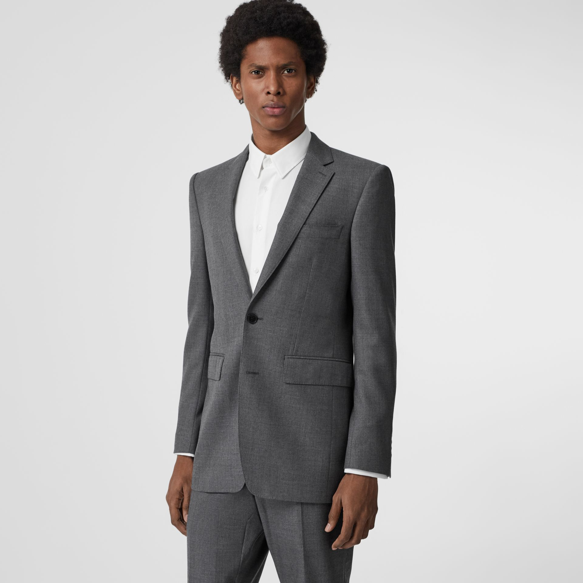 Classic Fit Sharkskin Wool Suit in Mid Grey Melange - Men | Burberry United Kingdom - gallery image 7