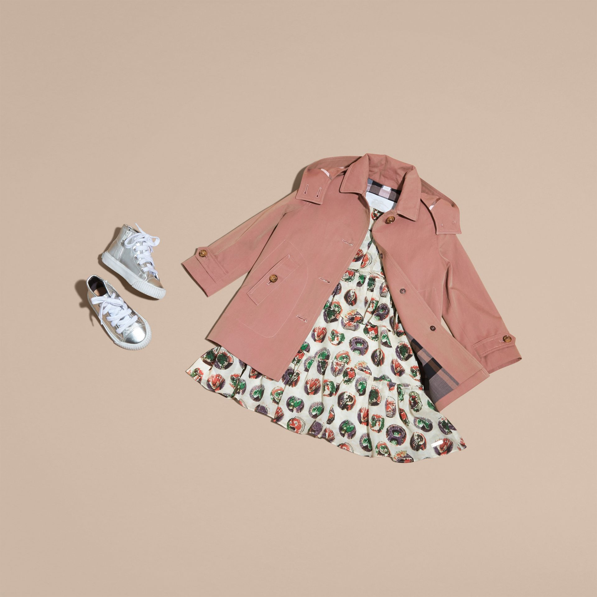 Detachable Hood Tropical Gabardine Trench Coat Antique Rose - gallery image 5