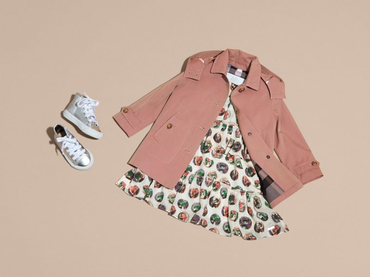Detachable Hood Tropical Gabardine Trench Coat Antique Rose - cell image 4