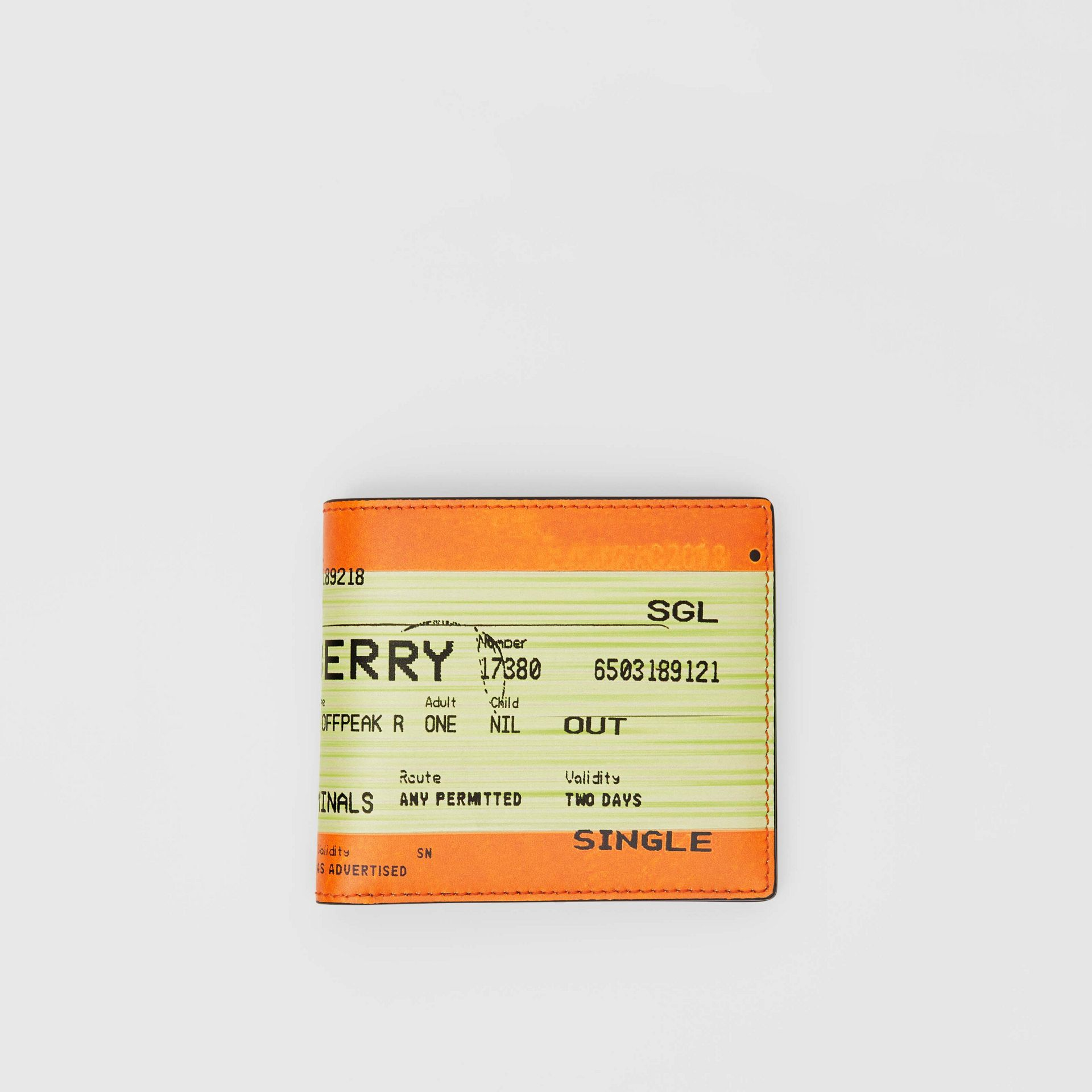 Train Ticket Print Leather International Bifold Wallet in Orange - Men | Burberry - gallery image 0