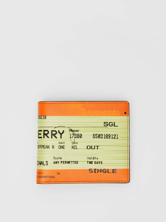 Portefeuille à rabat multidevise en cuir avec imprimé ticket de train (Orange)