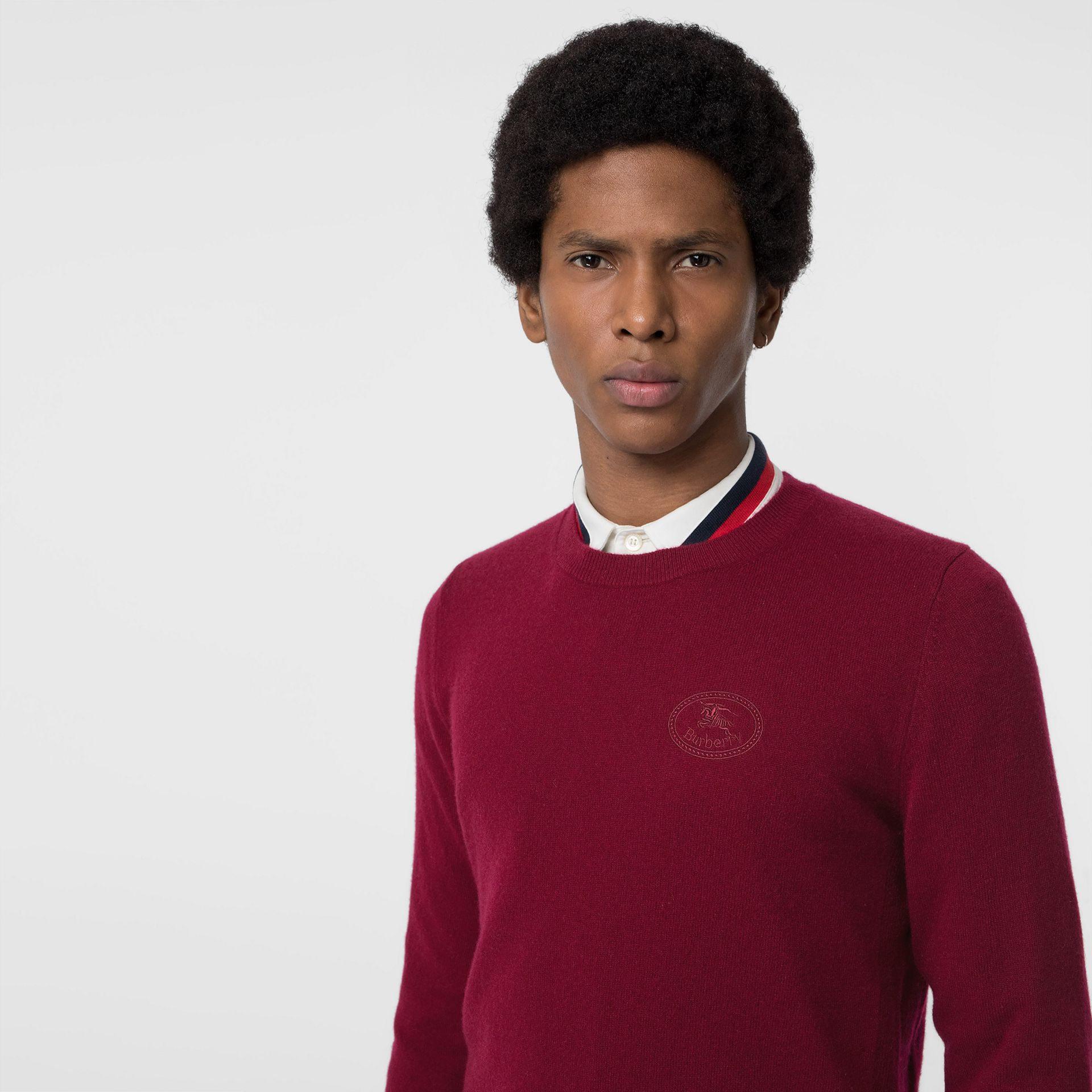 Embroidered Logo Cashmere Sweater in Claret - Men | Burberry Hong Kong - gallery image 1