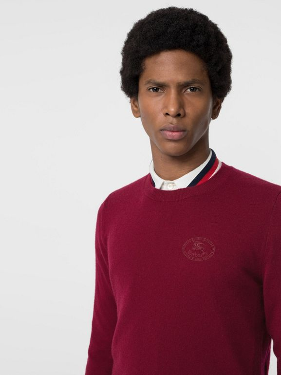 Embroidered Logo Cashmere Sweater in Claret - Men | Burberry - cell image 1