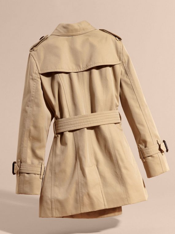 Honey Cotton Trench Coat with Embroidered Weather Appliqués - cell image 3