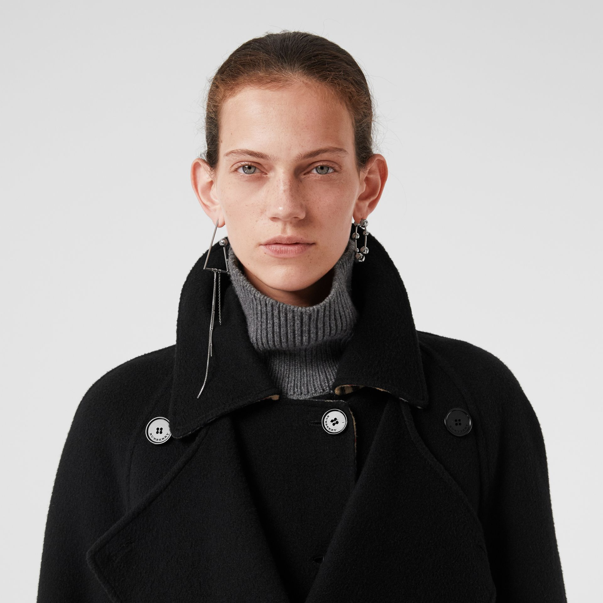Double-Front Cashmere Car Coat in Black - Women | Burberry United Kingdom - gallery image 1