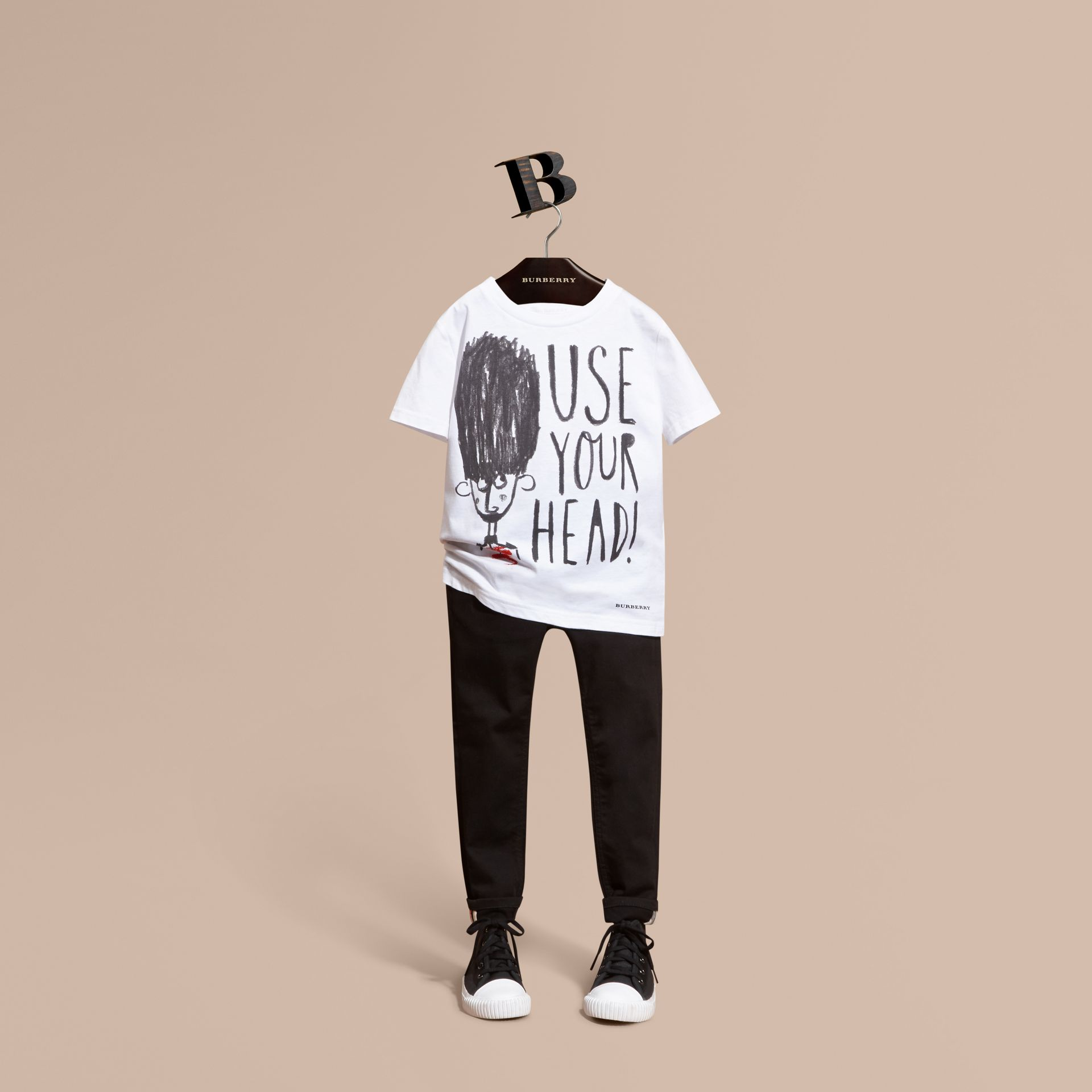White Use Your Head Graphic Cotton T-shirt - gallery image 1