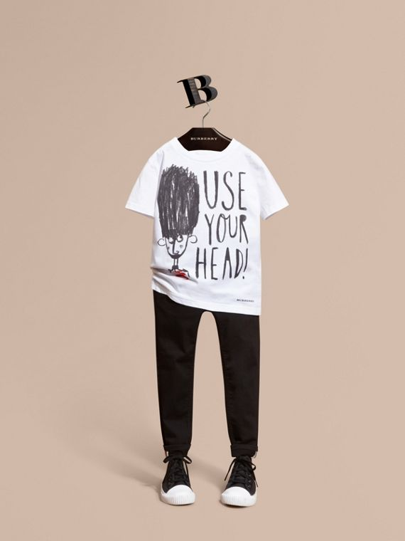 "Camiseta en algodón con motivo ""Use your head"""