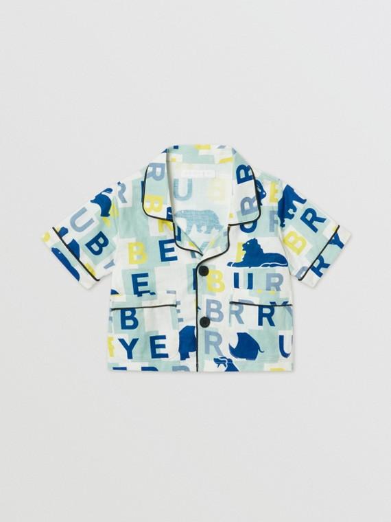 쇼트 슬리브 로고 프린트 리넨 코튼 셔츠 (페일 민트)