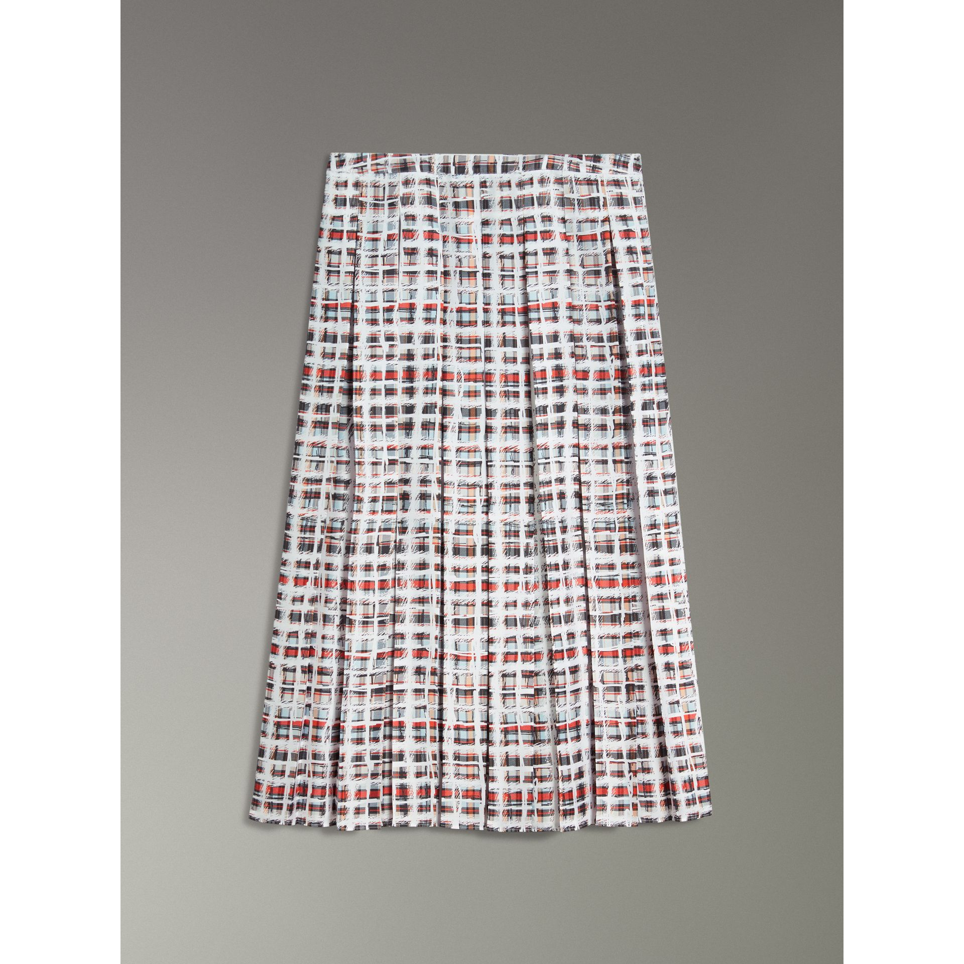 Pleated Scribble Check Silk Skirt in Cadmium Red - Women | Burberry - gallery image 3