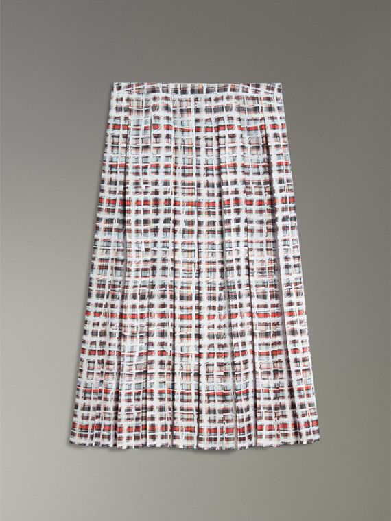 Pleated Scribble Check Silk Skirt in Cadmium Red - Women | Burberry Singapore - cell image 3