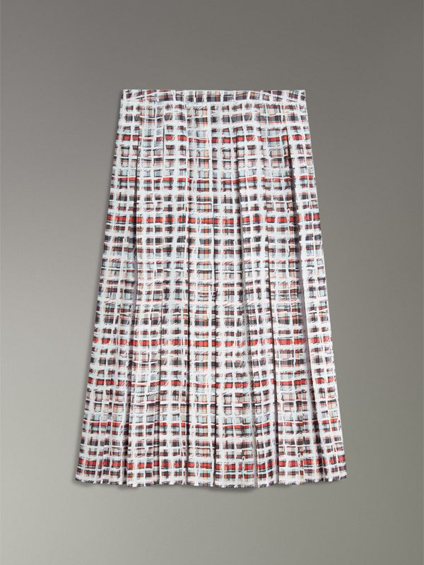 Pleated Scribble Check Silk Skirt in Cadmium Red - Women | Burberry - cell image 3
