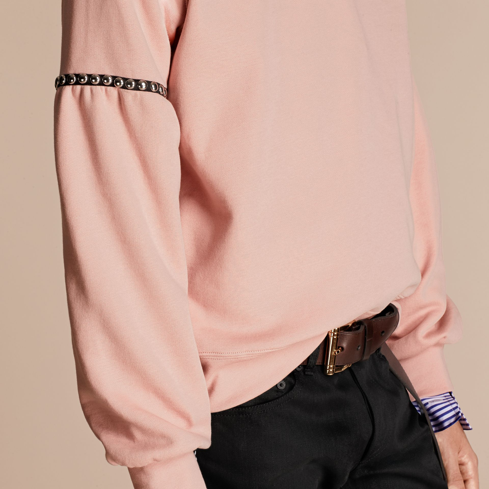 Dusty pink Bell-sleeved Cotton Blend Sweatshirt - gallery image 5