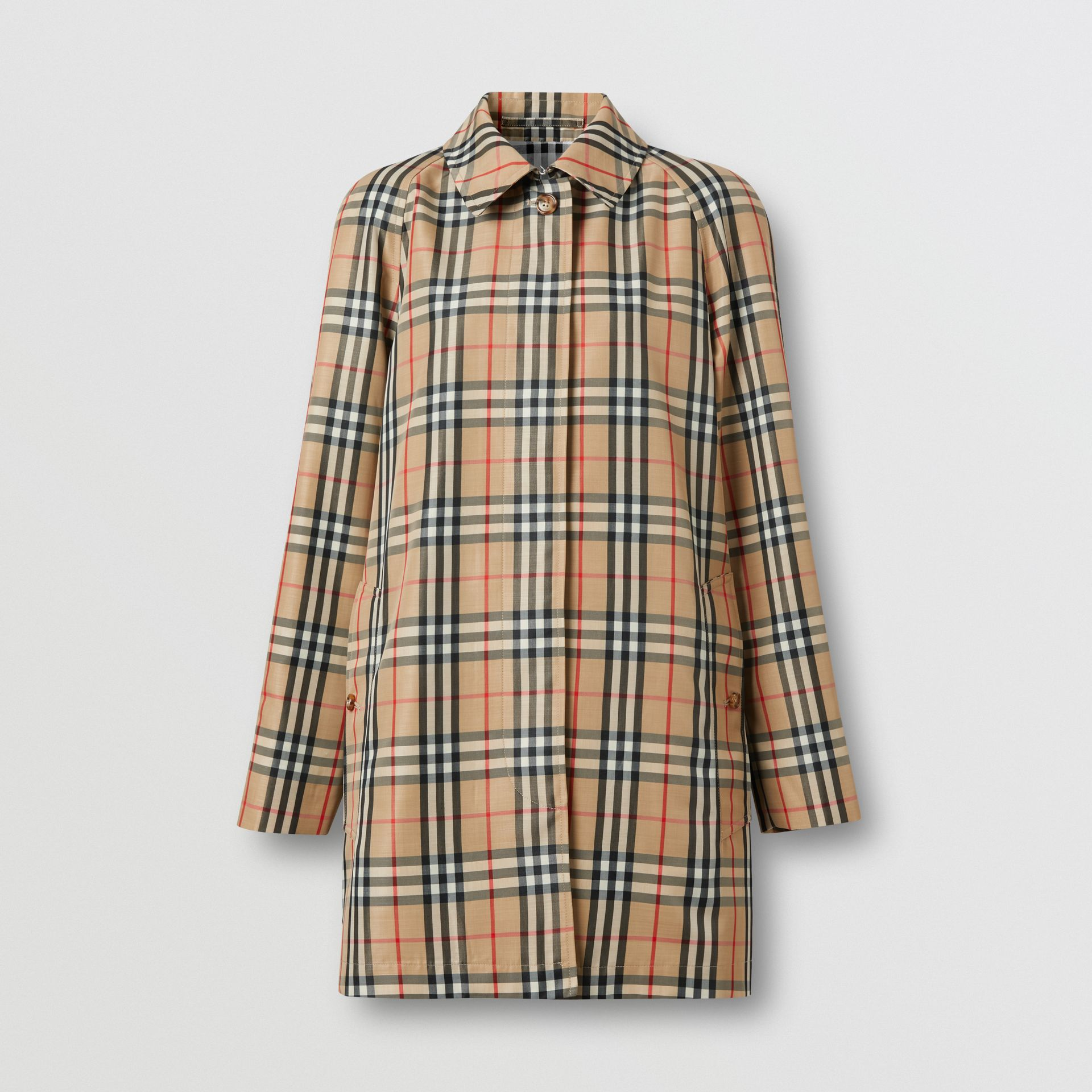 Vintage Check Recycled Polyester Car Coat in Archive Beige - Women | Burberry United States - gallery image 3